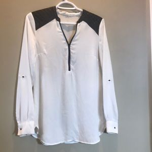 White Blouse with pleather detail